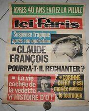 VINTAGE AFFICHE ICI PARIS N°1575 CLAUDE FRANÇOIS 58 X 77 CM
