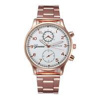 GENEVA Luxury Mens Stainless Steel Watch Analog Quartz Wrist Watches Armbanduhr
