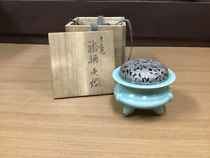 Y0584 KOURO Kyo-ware Sozan Suwa Celadon box Japanese Incense Burner fragrance
