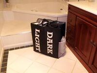 Light & Dark Laundry Totebag Hamper Large Black Tote Wash Bag Sorter Caddy