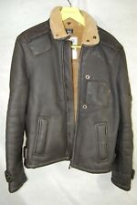 G STAR RAW MEN SHEARLING SHEEP LEATHER FLIGHT BIKER RIDING WARM JACKET XL