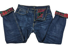 Damaged Hole J Crew Mens Sutton Blue Jeans Flannel Lined Straight Size 31x30