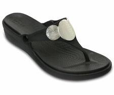 Women's Crocs SANRAH Embellished Wedge Flip Sandals, Black / Silver Metallic