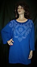NWT CATHERINES ROYAL BLUE W/ LIGHT BLUE FLORAL SCROLL MEGA EXTRA LONG 5X  TOP FS