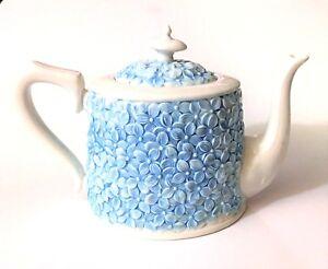 NEW GRACE'S WHITE PORCELAIN+3D BLUE FLORAL COFFEE,TEA POT (36 OZ. 4.5 CUPS)