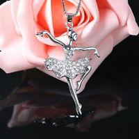 Fashion Women's The Ballet Girl Alloy Rhinestone Pendant Chain Necklace Jewelry