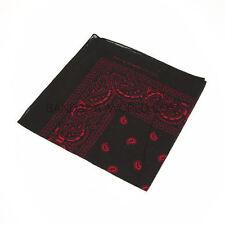 Rouge et noir paisley bandana bandanna head wear bandes écharpe cou poignet wrap B3