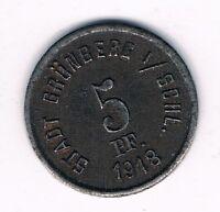 5 Pfennig 1918  Stadt Grünberg in Schlesien   Notgeld