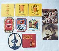 10 Beer Mats Coaster Used 1970s - 2000s - Elvis Beacon Cobra Greenalls Fullers