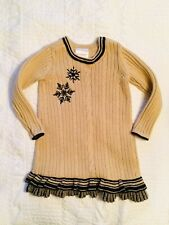 Hanna Andersson Winter Dress Cable Knit Sweater Snowflake Christmas