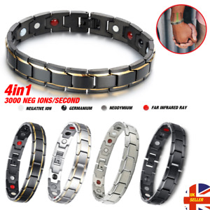 Mens Stainless Steel Magnetic Bracelet Health Healing Bio Pain Relief Arthritis