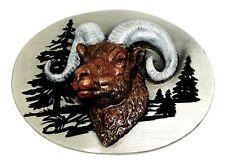 Rams Head Fibbia della Cintura American WESTERN A Tema Animale RAM Autentico SISKIYOU