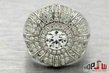 Lab Made SIMULATED DIAMOND Mens Ring .925 Silver Pinky Big Face Round