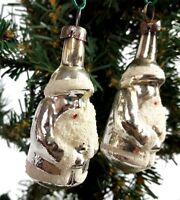 Silver Santa's Ornament 2 Vintage Czechoslovakia Glass Christmas Rare