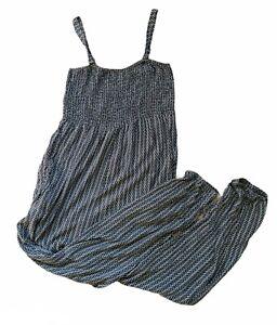 Black White Strapless Patterned Jumpsuit Size M 12 Boho Hippy Festival Gypsy