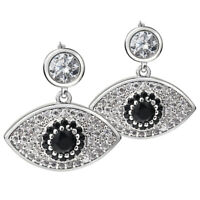 Women Eye Shaped Stud Earrings..Zircon Crystal Silver Fashion Design Shape Evil.
