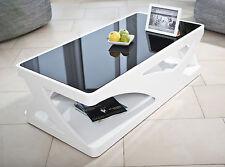 Couchtisch Wohnzimmertisch Tisch Weiß Hochglanz Schwarze Glasplatte Modern Neu