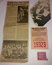 Bob Dylan 1974 Concert Ticket Stub,Parking Pass,News Paper Article, Memphis,Tn.