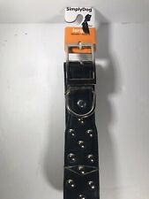 "SimplyDog Collar Size Large 1.37""x16-21"" Black Silver Stud Buckle Butch **NEW**"
