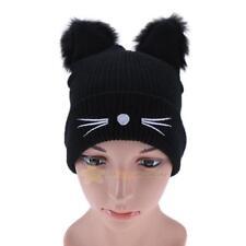 Fashion Women Winter Woolen Knitting Hat Cute Cat Ears Braided Knitted Fur Cap