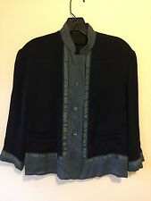 Prada Vintage 100% Silk Navy with Turcoise Trim 3/4 Sleeve Blouse SZ40
