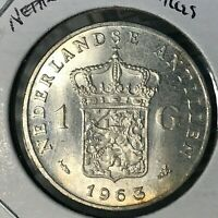 1963 NETHERLANDS  ANTILLES SILVER ONE GULDEN BRILLIANT UNCIRCULATED COIN