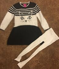 Shrinking Violet Size 6X girls Dress And Footless Tights Black/white W Cat Face