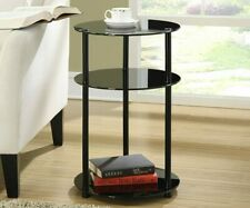 Black Tempered Glass Round Side End Accent Table Modern Circle 3-Tier Shelves