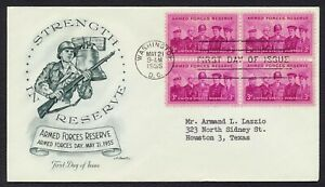 #1067 3c Armed Forces Reserve-Block of 4, Artmaster FDC **ANY 5=FREE SHIPPING**