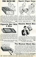 1926 Print Ad Musical Electric & Frog Match Box, Squirt Cigar Cigarette Mice Box
