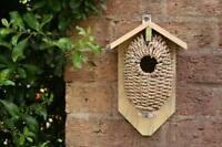 Wicker Wooden Vintage Style Bird Nest House. Garden Allotment Wildlife.