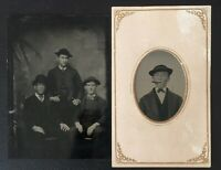 1890s THE USUAL SUSPECTS - WISEGUYS WANABES CRIMINALS ??? - 2 GREAT TINTYPES