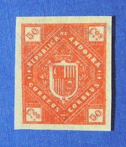 1875 ANDORRA SPANISH 50C UNISSUED STAMP SCOTT# - MICHEL #- UNUSED IMPERF CS25524