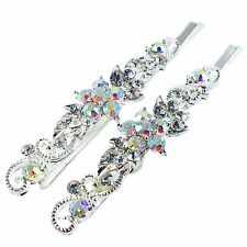 USA Bobby Pin Rhinestone Crystal Hair Clip Hairpin Elegant Flower Silver 46-1
