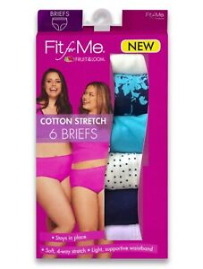Women's Fruit of the Loom 'Fit for Me' 6-Pk Cotton Stretch Briefs— Size 9 or 13