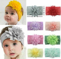 Kids Baby Flower Wide Soft Headband Knot Bow Headwraps Soft Elastic Hair Bands