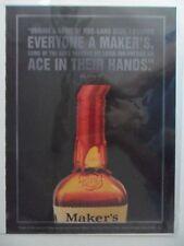 2002 Print Ad Maker's Mark Bourbon Whiskey ~ Poker Chips Ace in Hand