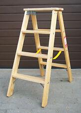 Doppelstufenleiter Tritt Stufenleiter Holz Leiter Holzleiter  2x 4 Stufen