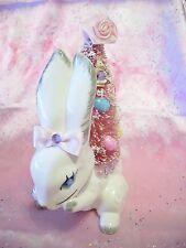 VTG Bunny Rabbit Pink Bottle Brush Tree w Rhinestones Easter Planter Figurine