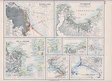 1931 MAP ~ ENVIRONS BUENOS AIRES VALPARAISO RIO DE JANEIRO PANAMA CANAL