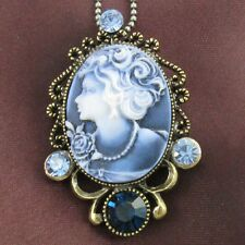 Vintage Antique Replica Blue Cameo Pendant Necklace Blue Fashion Jewelry ek1