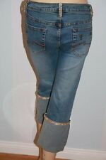 Don't Drink & Draw Rhinestones M Martian Alien Cropped Capri Womens Jeans 7