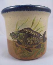 Monroe Salt Works Crock Utensil Holder Trout Fish Maine Art Pottery EUC