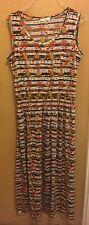 Ladies Multicoloured Stretch Waist Maxi Dress Size L