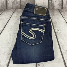 "Silver Frances Womens 18"" Dark Blue Stretch Flare Denim Jeans Size 24x31"