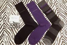 CALVIN KLEIN Dress Sock Blk/Pur Formal Luxury Cotton Crew Socks 3p/pk BNIP RP£21