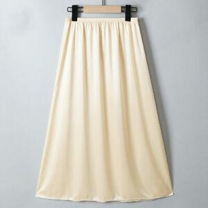 Women Satin Skirt Faux Silk Petticoat Thin Underskirt Midi Under Dress Half Slip