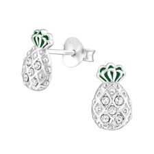 Pineapple Stud Earrings - Real Sterling Silver Made With Swarovski Crystals- Box