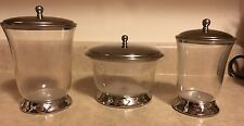 Clear Plastic 3 Pc Canister Set With Silver Metal Lid Made In India