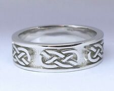 MK01 Genuine Solid 9ct White GOLD Keltic Celtic Thick Wedding Band Ring size W